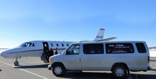 Paxton Shuttle picking up client from private charter air craft